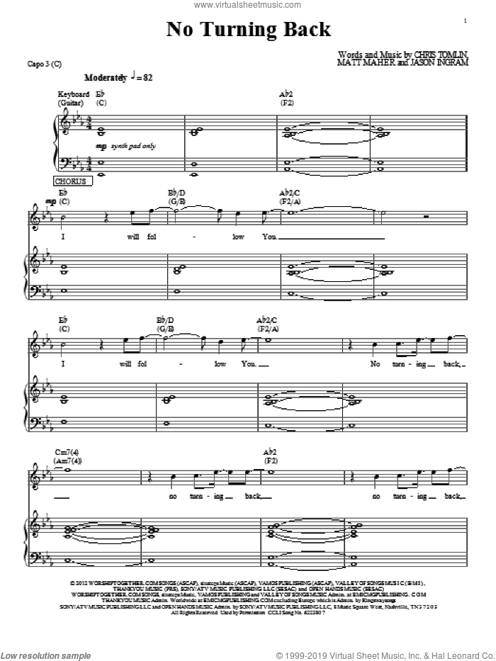No Turning Back sheet music for voice, piano or guitar by Passion, Chris Tomlin, Jason Ingram and Matt Maher, intermediate skill level