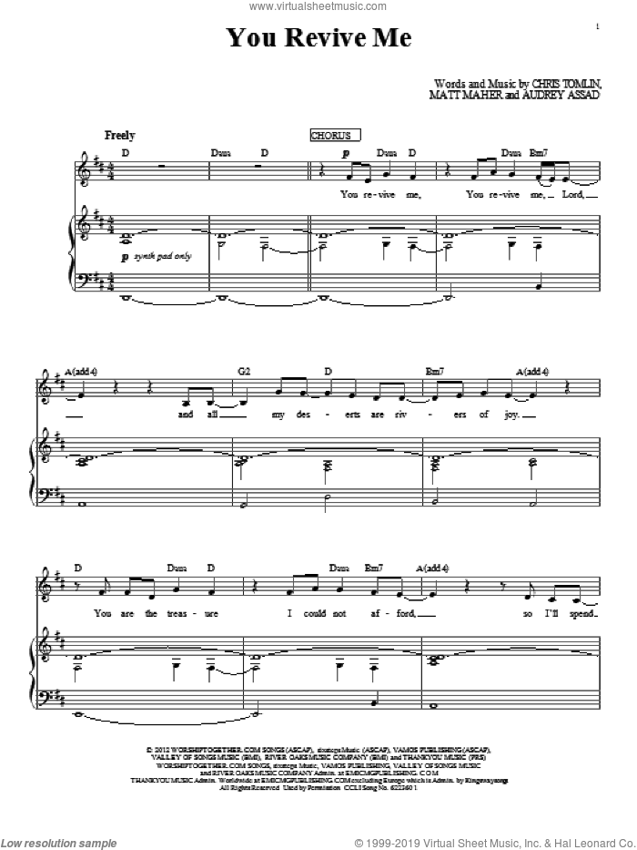 You Revive Me sheet music for voice, piano or guitar by Passion, Audrey Assad, Chris Tomlin and Matt Maher, intermediate skill level