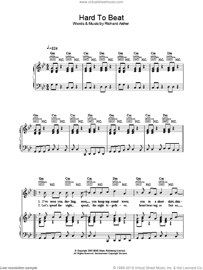 Hard To Beat sheet music for voice, piano or guitar by Hard-Fi and Richard Archer, intermediate. Score Image Preview.