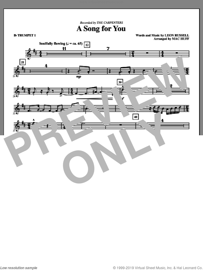 A Song For You (complete set of parts) sheet music for orchestra/band (chamber ensemble) by Leon Russell, Carpenters and Mac Huff, intermediate orchestra/band (chamber ensemble). Score Image Preview.