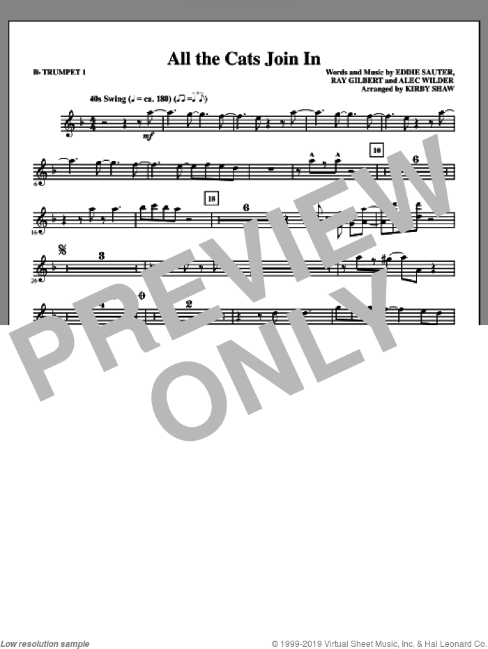 All The Cats Join In (complete set of parts) sheet music for orchestra/band by Kirby Shaw, Alex Wilder, Eddie Sauter and Ray Gilbert, intermediate skill level