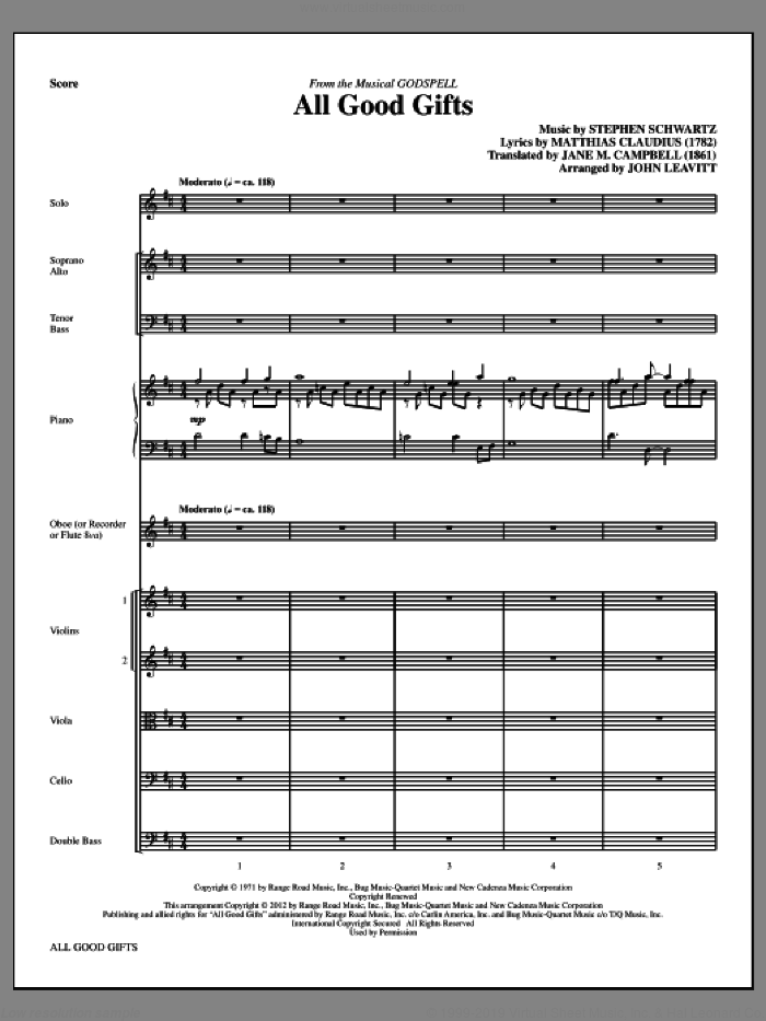 All Good Gifts (complete set of parts) sheet music for orchestra/band (Strings) by Stephen Schwartz and John Leavitt, intermediate. Score Image Preview.