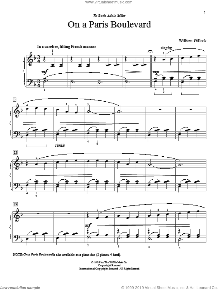 On A Paris Boulevard sheet music for piano solo (elementary) by William Gillock. Score Image Preview.