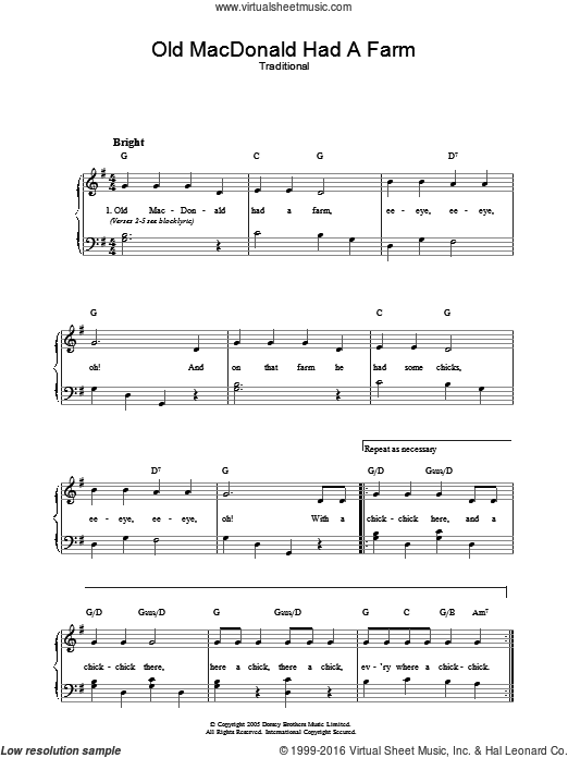 Old MacDonald sheet music for piano solo. Score Image Preview.