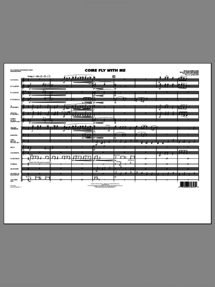 Come Fly With Me (COMPLETE) sheet music for marching band by Sammy Cahn, Jimmy van Heusen, Paul Murtha and Will Rapp, intermediate skill level
