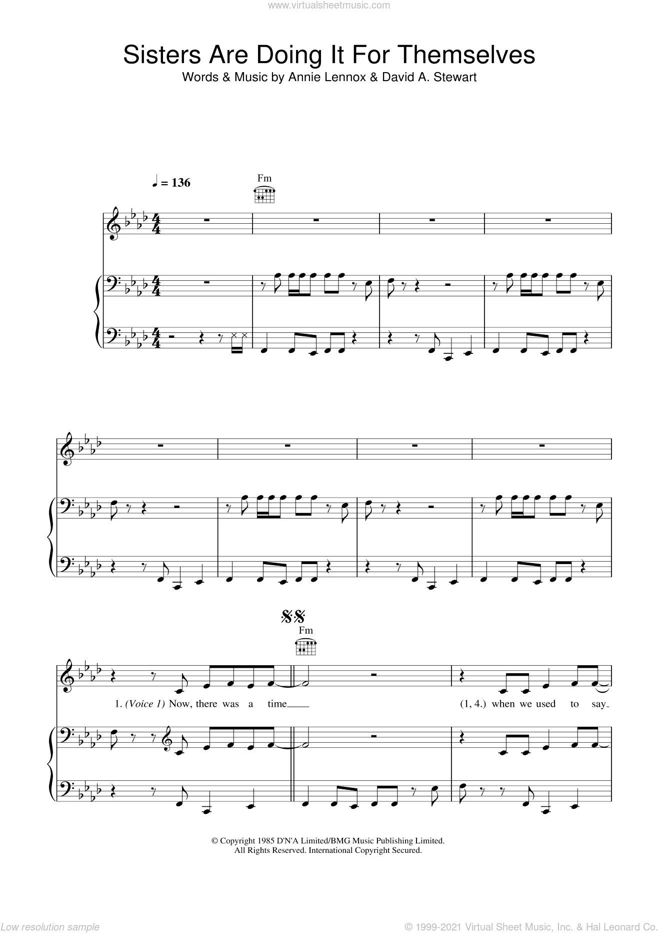 Sisters Are Doing It For Themselves sheet music for voice, piano or guitar by Eurythmics, Annie Lennox and Dave Stewart, intermediate skill level