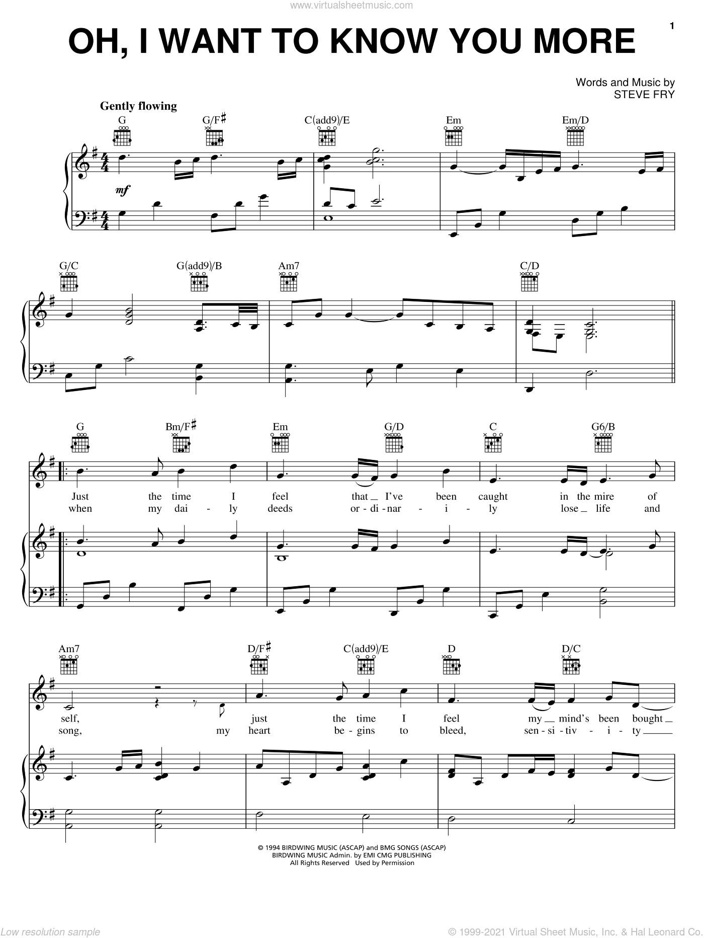Oh, I Want To Know You More sheet music for voice, piano or guitar by Steve Fry