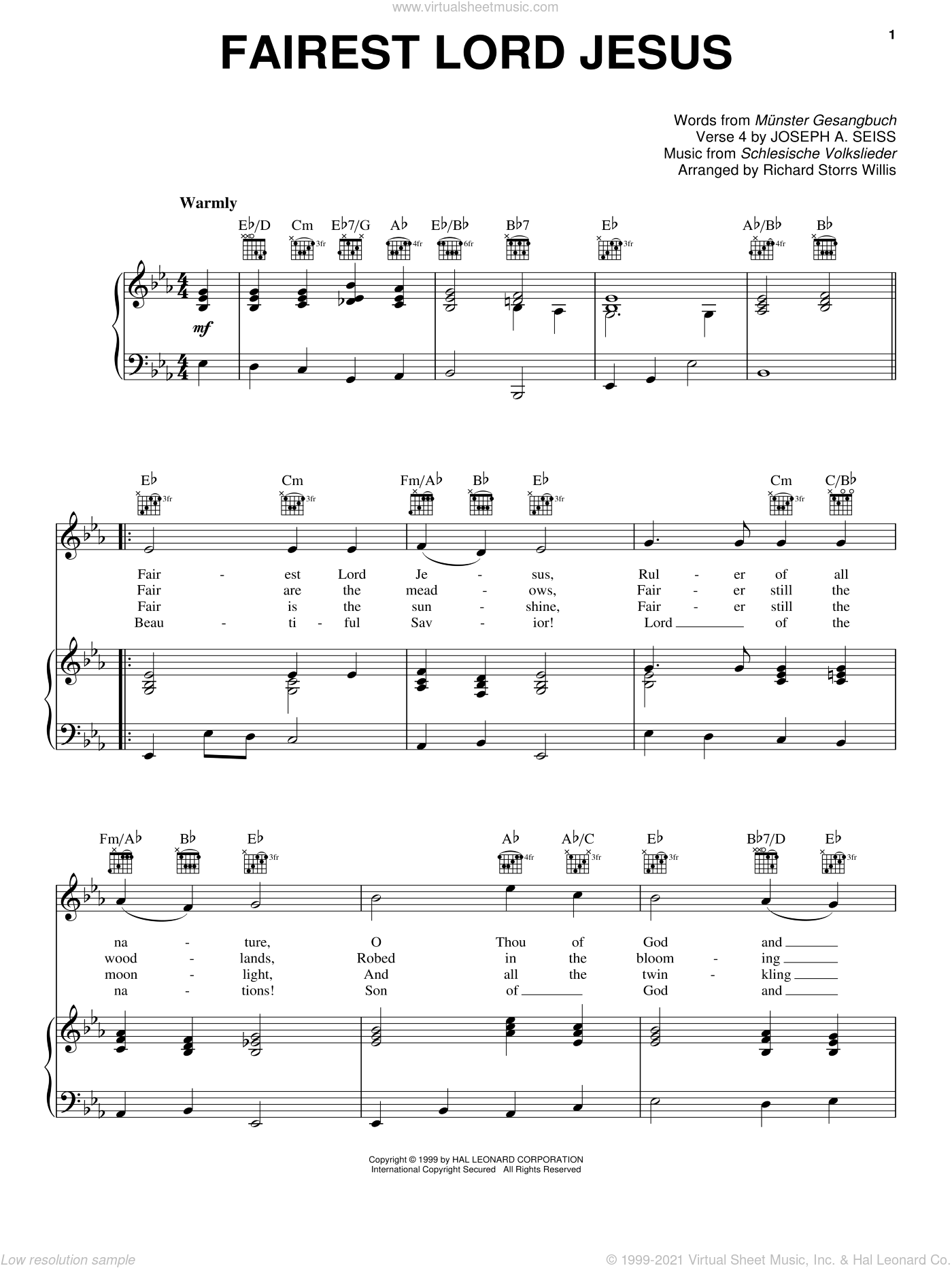 Fairest Lord Jesus sheet music for voice, piano or guitar by Schlesische Volkslieder, Joseph August Seiss, Munster Gesangbuch and Richard Storrs Willis. Score Image Preview.