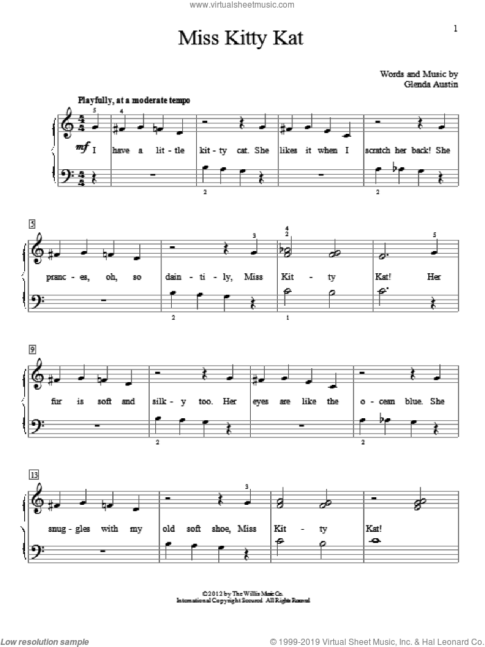 Miss Kitty Kat sheet music for piano solo (elementary) by Glenda Austin, beginner piano (elementary)