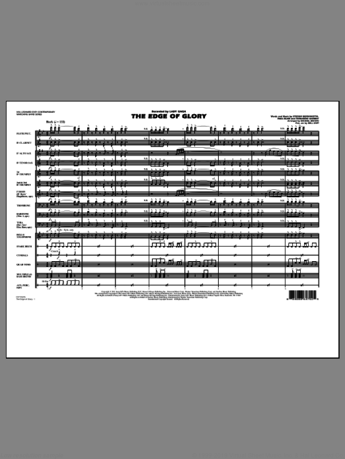 The Edge Of Glory (COMPLETE) sheet music for marching band by Lady Gaga, Fernando Garibay, Paul Blair, Michael Brown and Will Rapp, intermediate marching band. Score Image Preview.