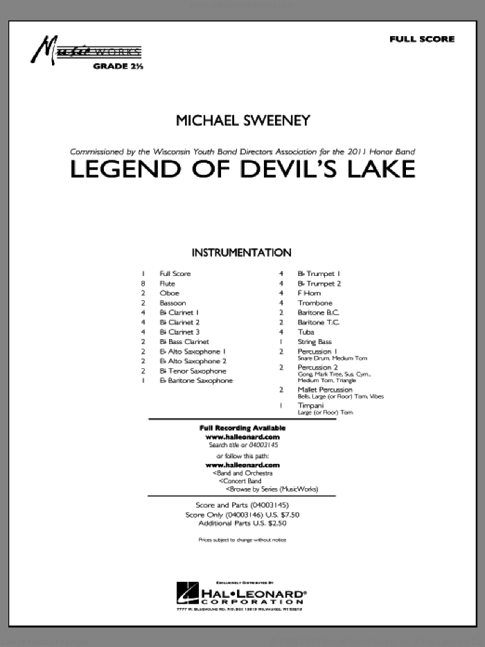 Legend Of Devil's Lake sheet music for concert band (full score) by Michael Sweeney