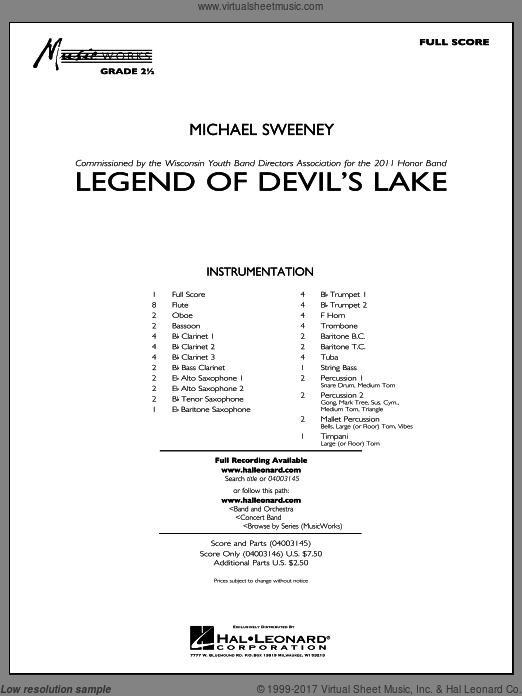 Legend Of Devil's Lake (COMPLETE) sheet music for concert band by Michael Sweeney