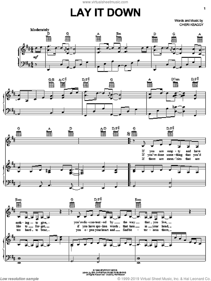 Lay It Down sheet music for voice, piano or guitar by Cheri Keaggy, intermediate skill level