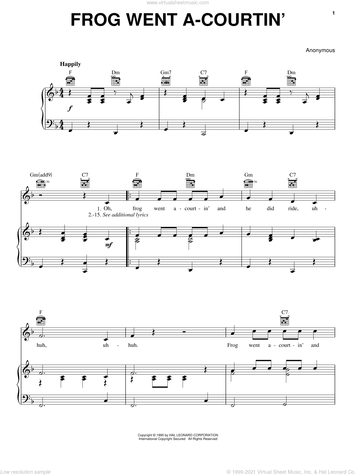Frog Went A-Courtin' sheet music for voice, piano or guitar, intermediate voice, piano or guitar. Score Image Preview.