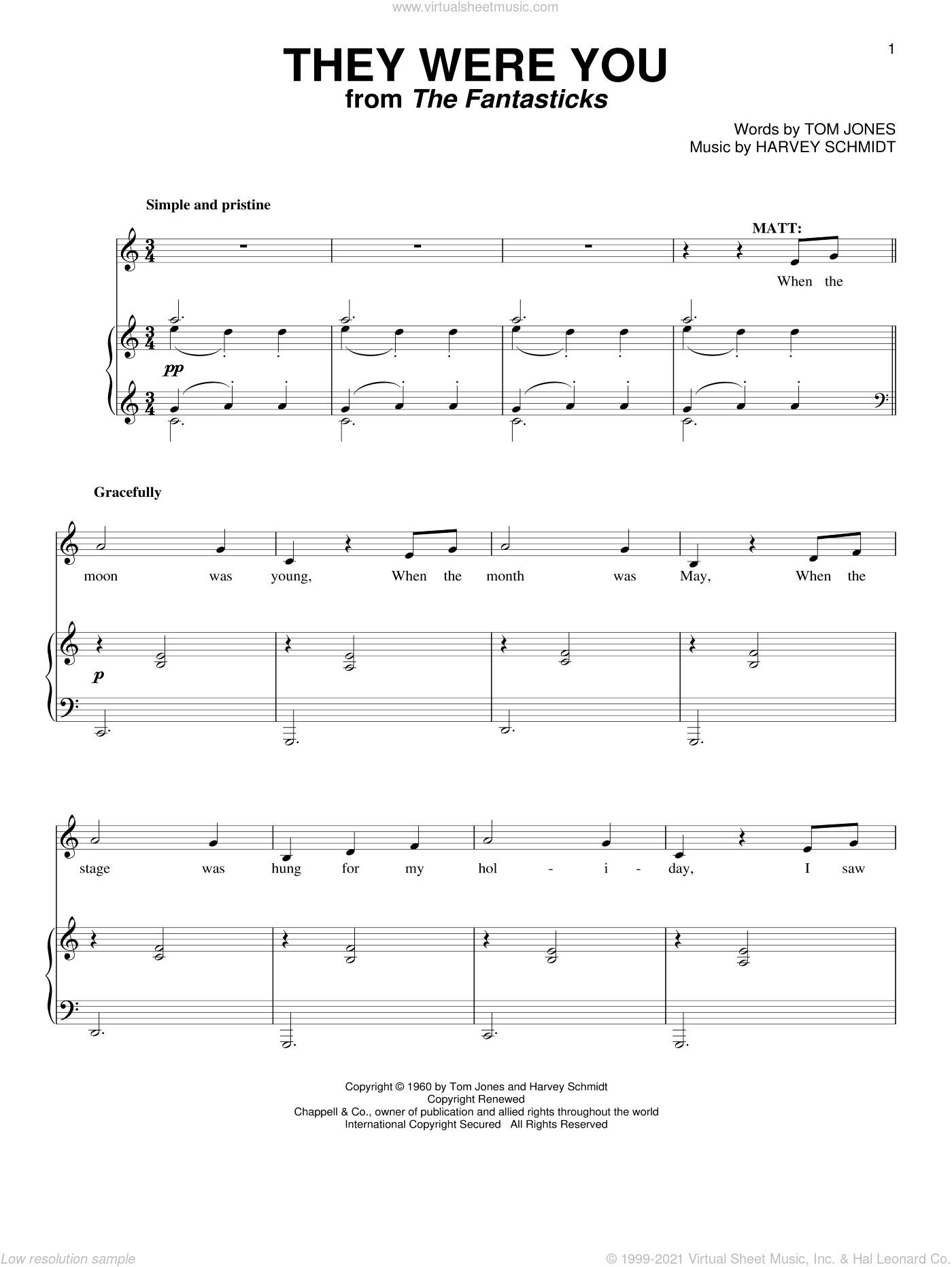 They Were You sheet music for voice and piano by Tom Jones