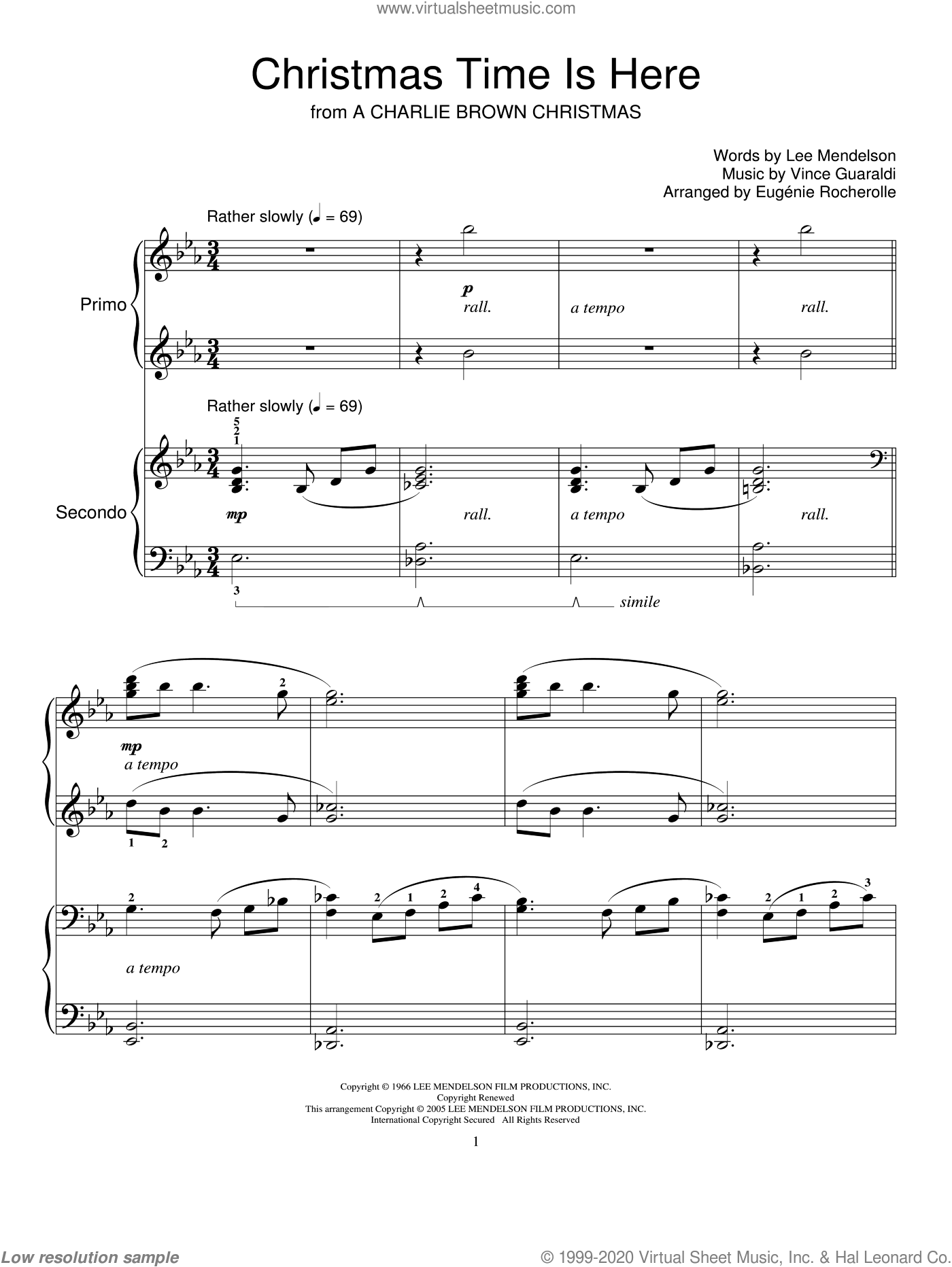 Christmas Time Is Here sheet music for piano four hands (duets) by Lee Mendelson