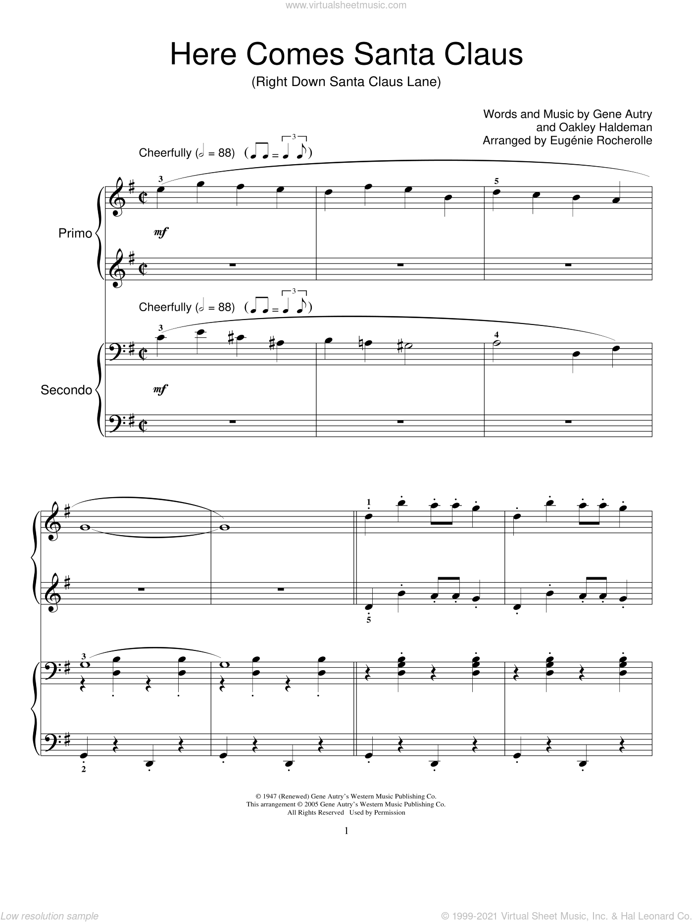 Here Comes Santa Claus (Right Down Santa Claus Lane) sheet music for piano four hands by Gene Autry, Miscellaneous and Oakley Haldeman, intermediate skill level