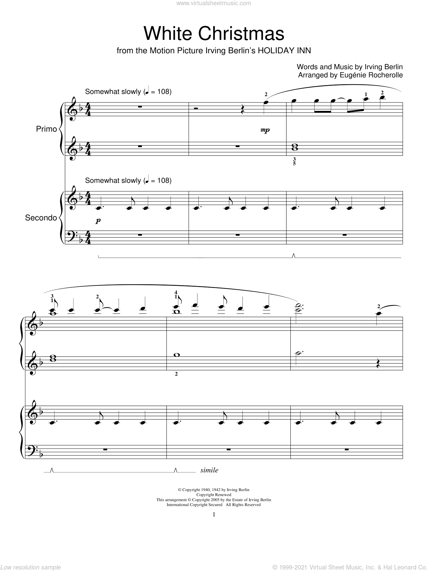 White Christmas sheet music for piano four hands by Irving Berlin and Miscellaneous, intermediate skill level