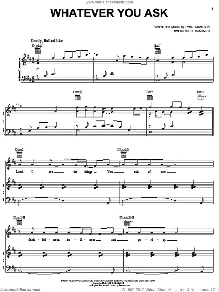 Whatever You Ask sheet music for voice, piano or guitar by Phill McHugh and Michele Wagner, intermediate skill level