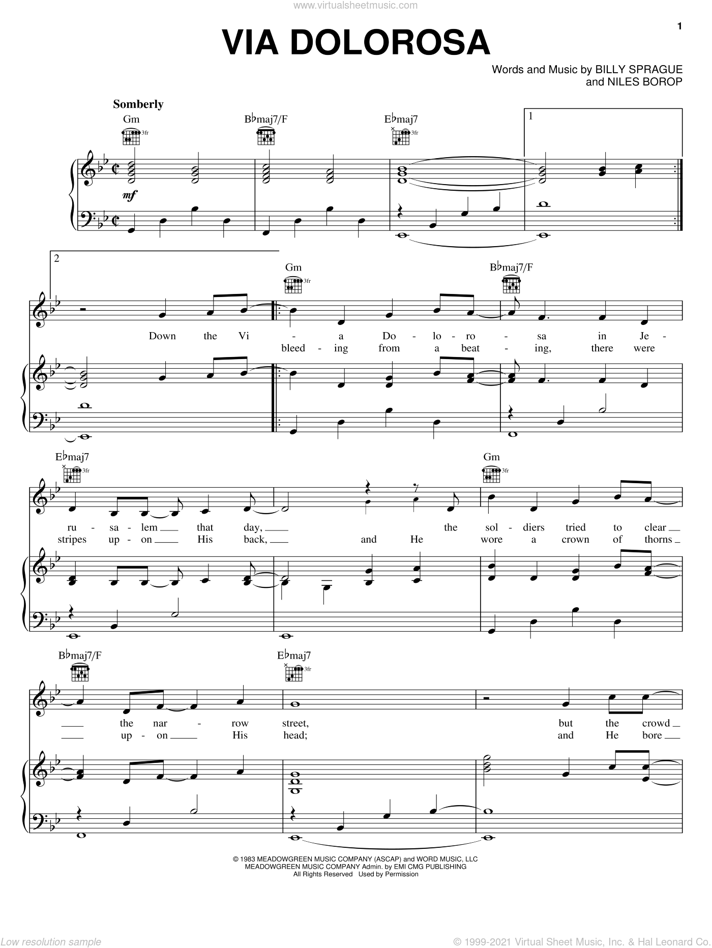 Via Dolorosa sheet music for voice, piano or guitar by Sandi Patty, Billy Sprague and Niles Borop, intermediate skill level