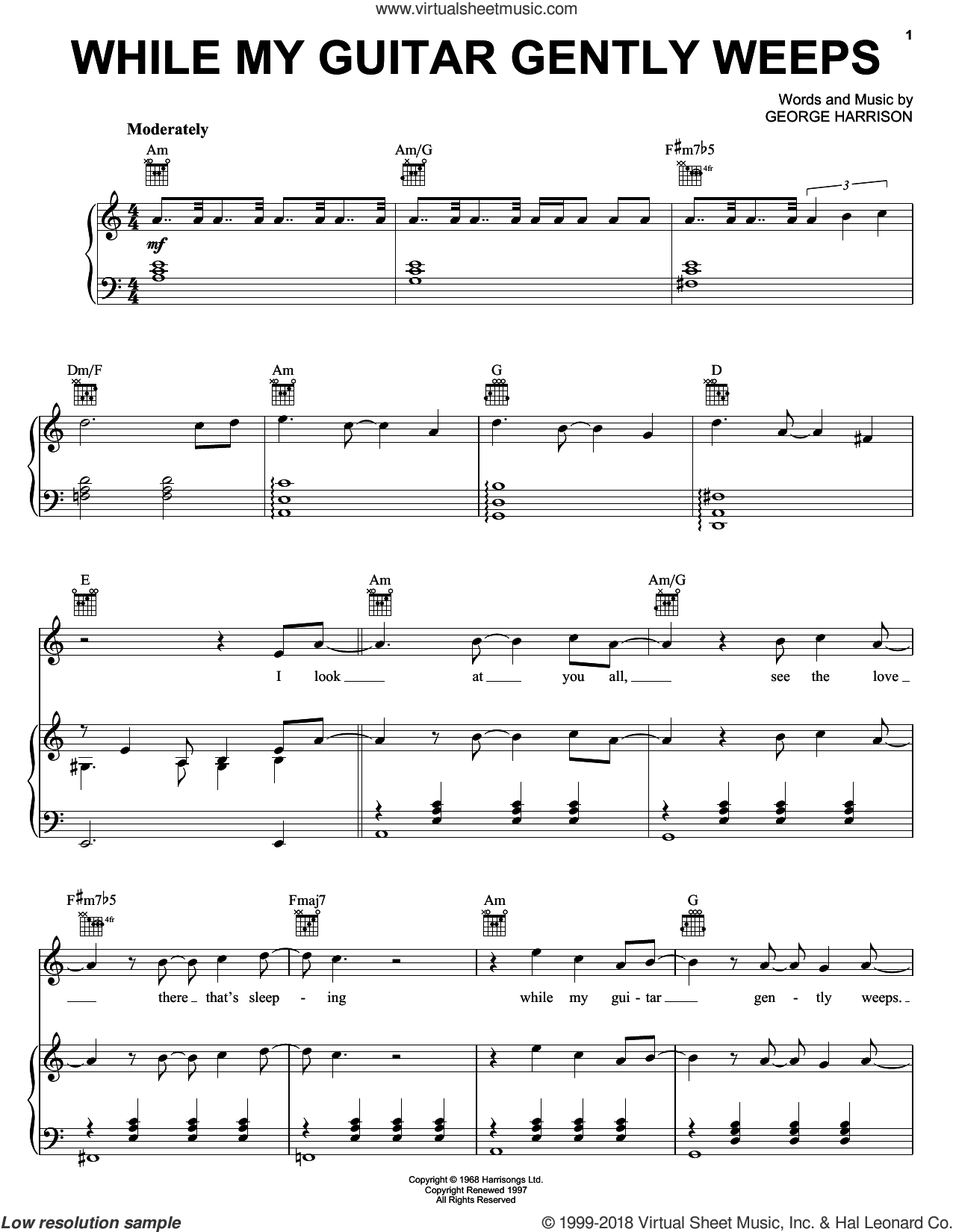 While My Guitar Gently Weeps sheet music for voice, piano or guitar by The Beatles, Across The Universe (Movie), Jeff Healey and George Harrison, intermediate skill level
