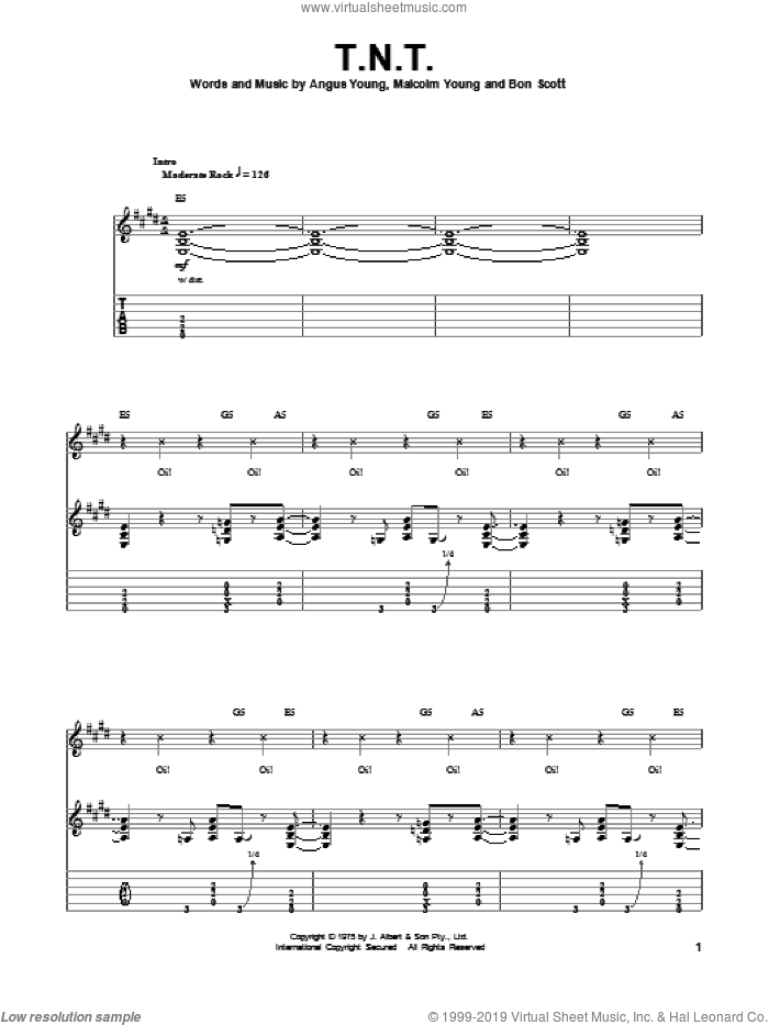 T.N.T. sheet music for guitar (tablature, play-along) by AC/DC, intermediate. Score Image Preview.