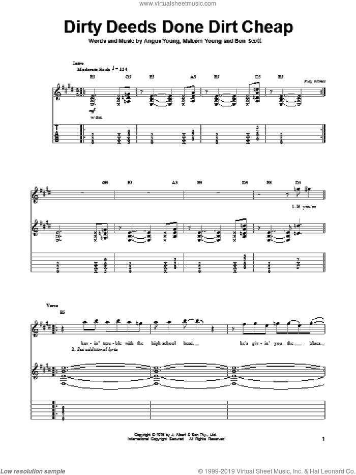 Dirty Deeds Done Dirt Cheap sheet music for guitar (tablature, play-along) by Malcolm Young, AC/DC and Angus Young. Score Image Preview.