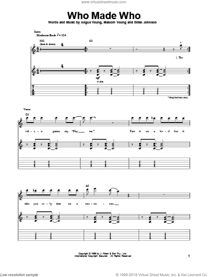 Who Made Who sheet music for guitar (tablature, play-along) by AC/DC, Angus Young, Brian Johnson and Malcolm Young, intermediate. Score Image Preview.