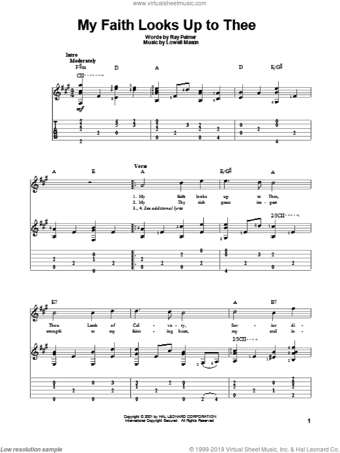 My Faith Looks Up To Thee sheet music for guitar solo by Lowell Mason and Ray Palmer, intermediate skill level