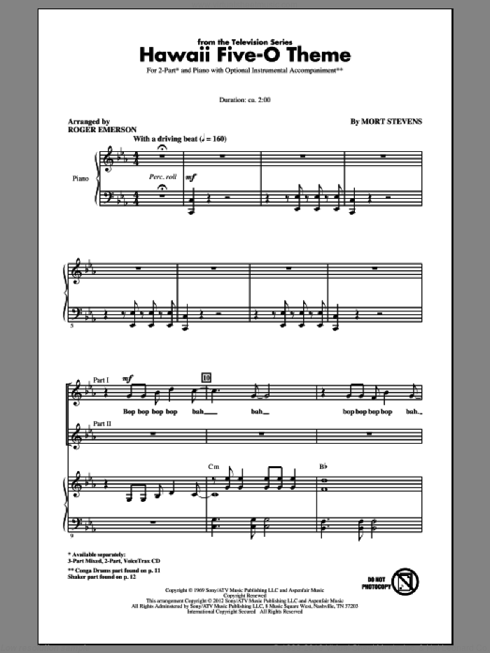 Hawaii Five-O Theme sheet music for choir and piano (duets) by Mort Stevens