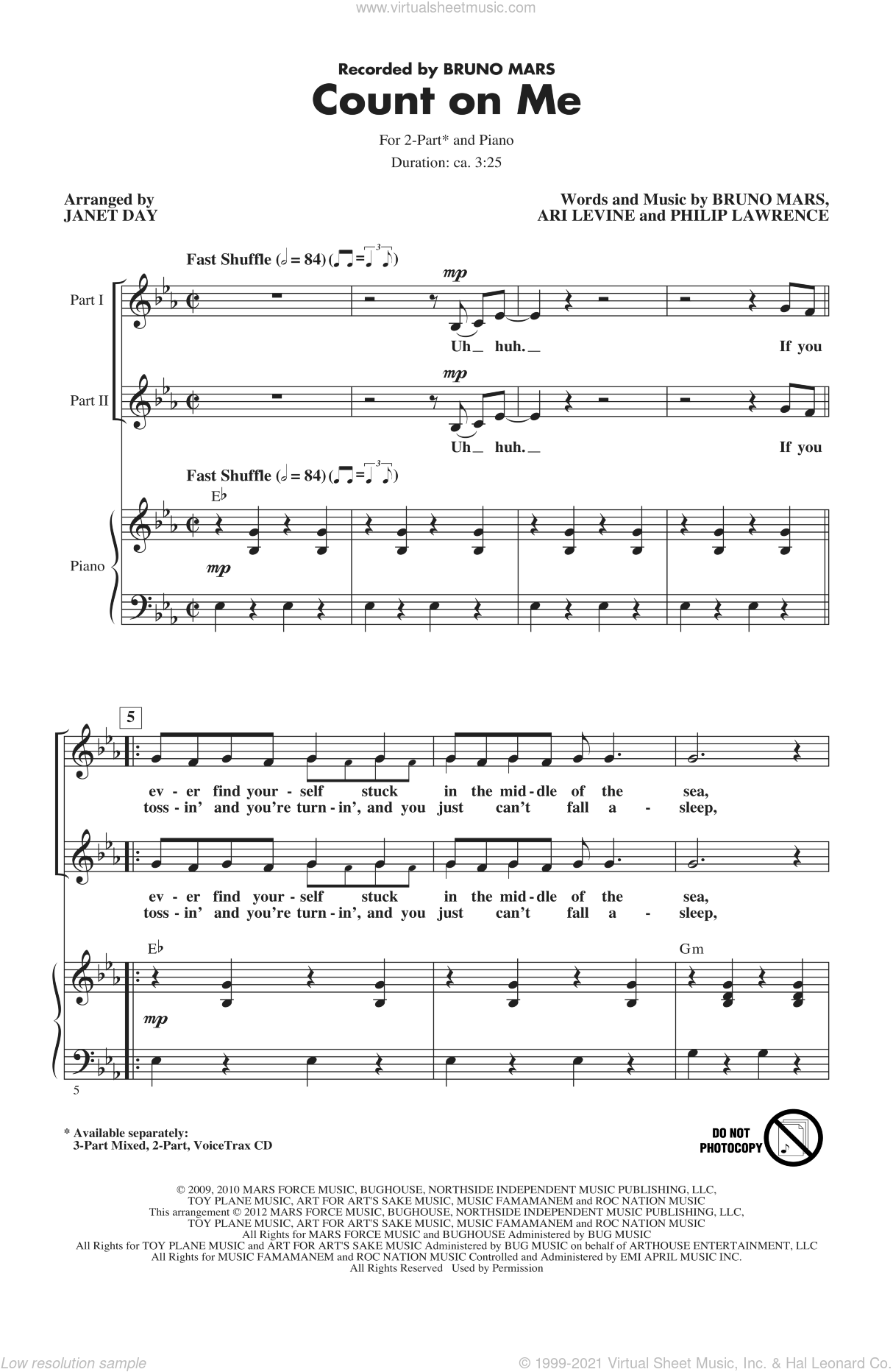 Count On Me sheet music for choir and piano (duets) by Ari Levine