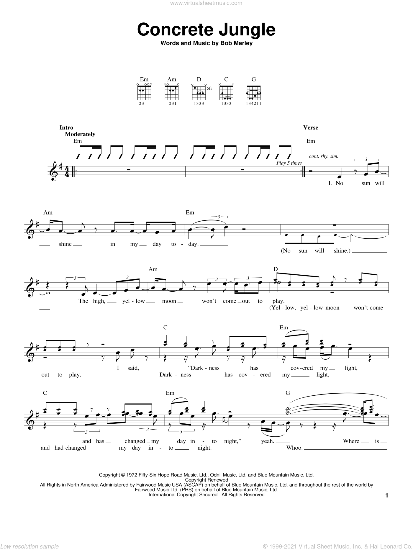 Concrete Jungle sheet music for guitar solo (chords) by Bob Marley, easy guitar (chords)