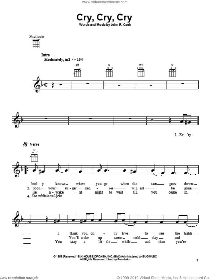 Cry, Cry, Cry sheet music for ukulele by Johnny Cash, intermediate skill level