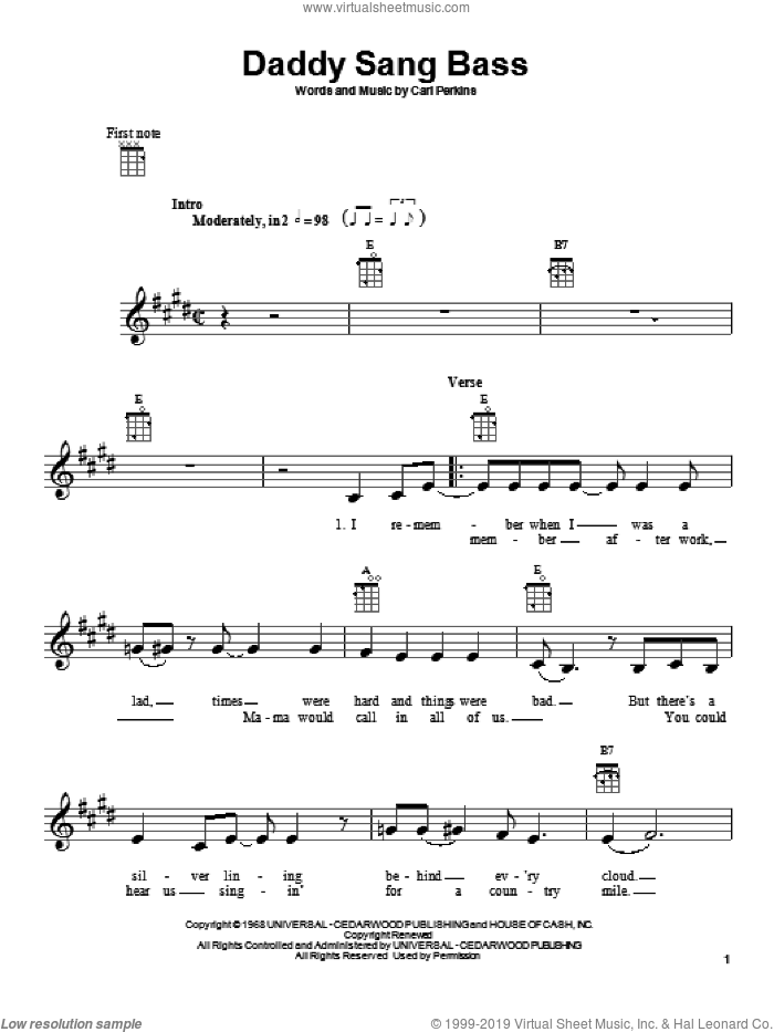 Daddy Sang Bass sheet music for ukulele by Johnny Cash and Carl Perkins, intermediate ukulele. Score Image Preview.