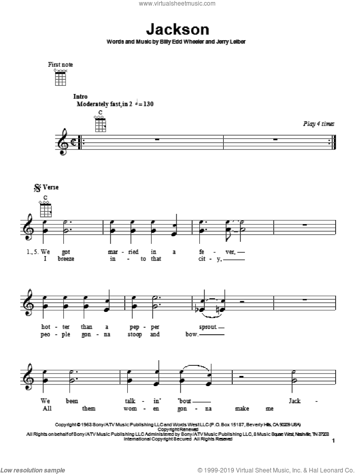 Jackson sheet music for ukulele by Johnny Cash & June Carter, Johnny Cash, Billy Edd Wheeler and Jerry Leiber, intermediate skill level