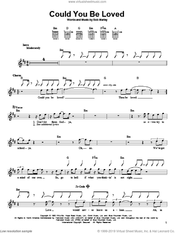 Could You Be Loved sheet music for guitar solo (chords) by Bob Marley and Bob Marley and The Wailers, easy guitar (chords)
