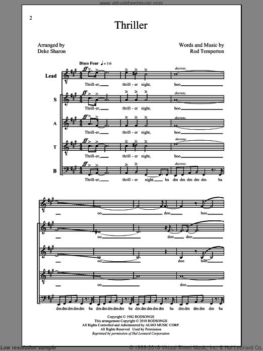Thriller sheet music for choir (SATB) by Deke Sharon. Score Image Preview.