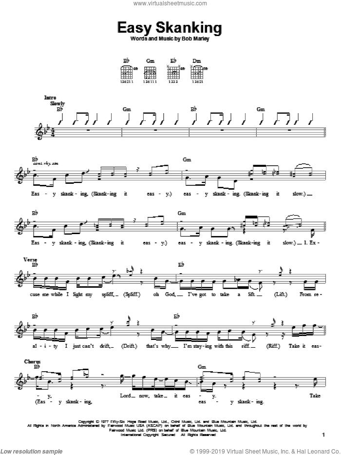 Easy Skanking sheet music for guitar solo (chords) by Bob Marley, easy guitar (chords)