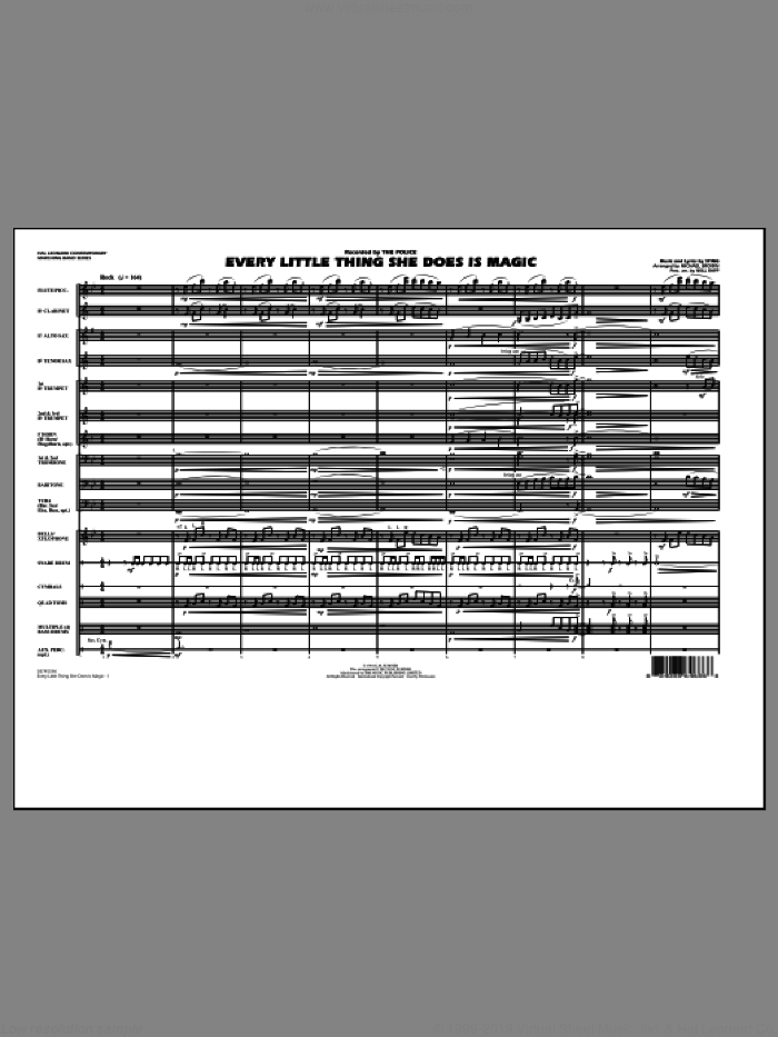 Every Little Thing She Does Is Magic (COMPLETE) sheet music for marching band by Sting, Michael Brown, The Police and Will Rapp, intermediate. Score Image Preview.
