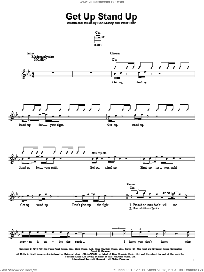 Get Up Stand Up sheet music for guitar solo (chords) by Bob Marley and Peter Tosh, easy guitar (chords)