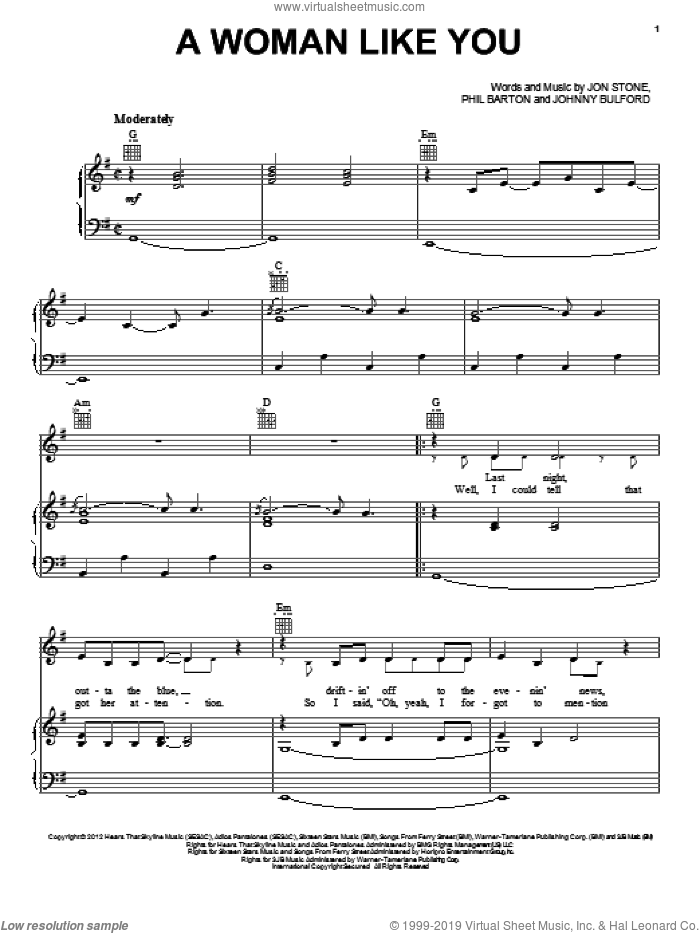 A Woman Like You sheet music for voice, piano or guitar by Lee Brice, Johnny Bulford, Jon Stone and Phillip Barton, intermediate skill level