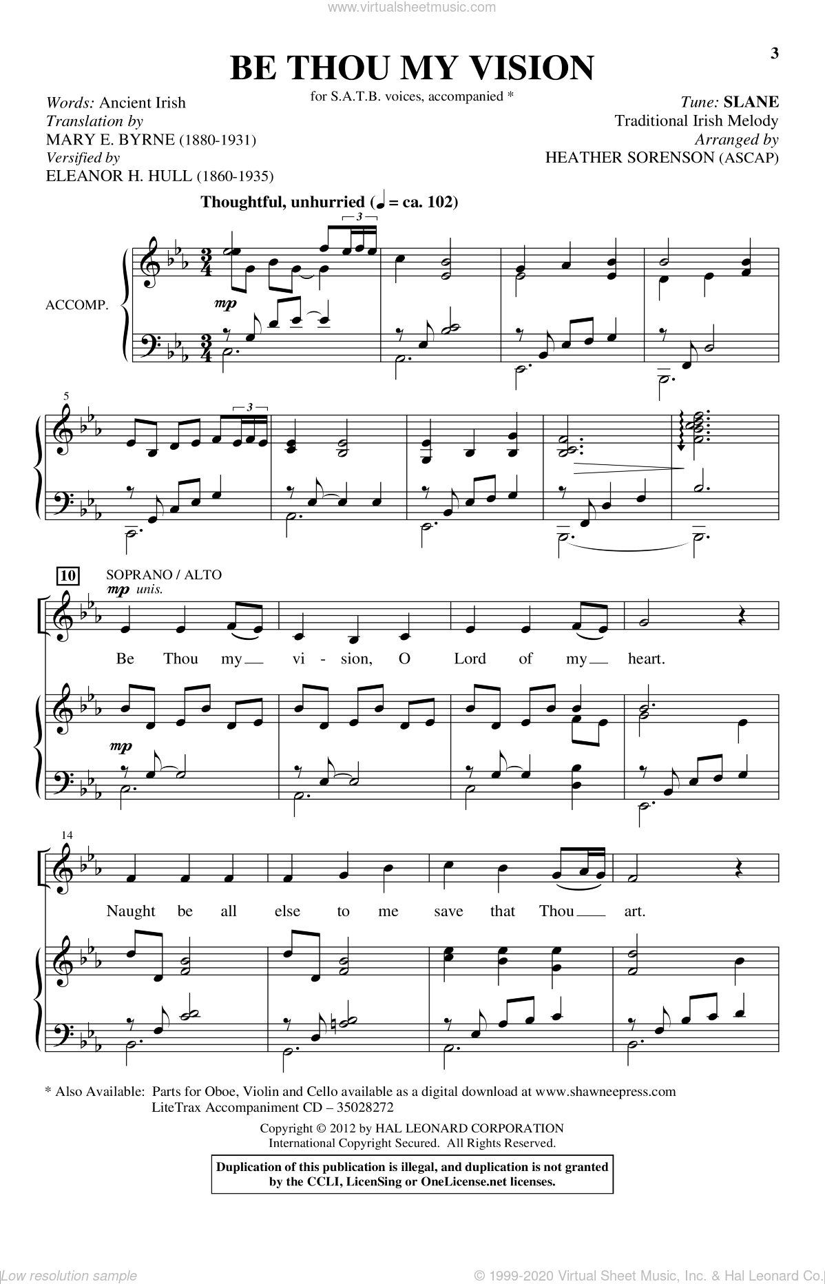 Be Thou My Vision sheet music for choir and piano (SATB) by Heather Sorenson. Score Image Preview.
