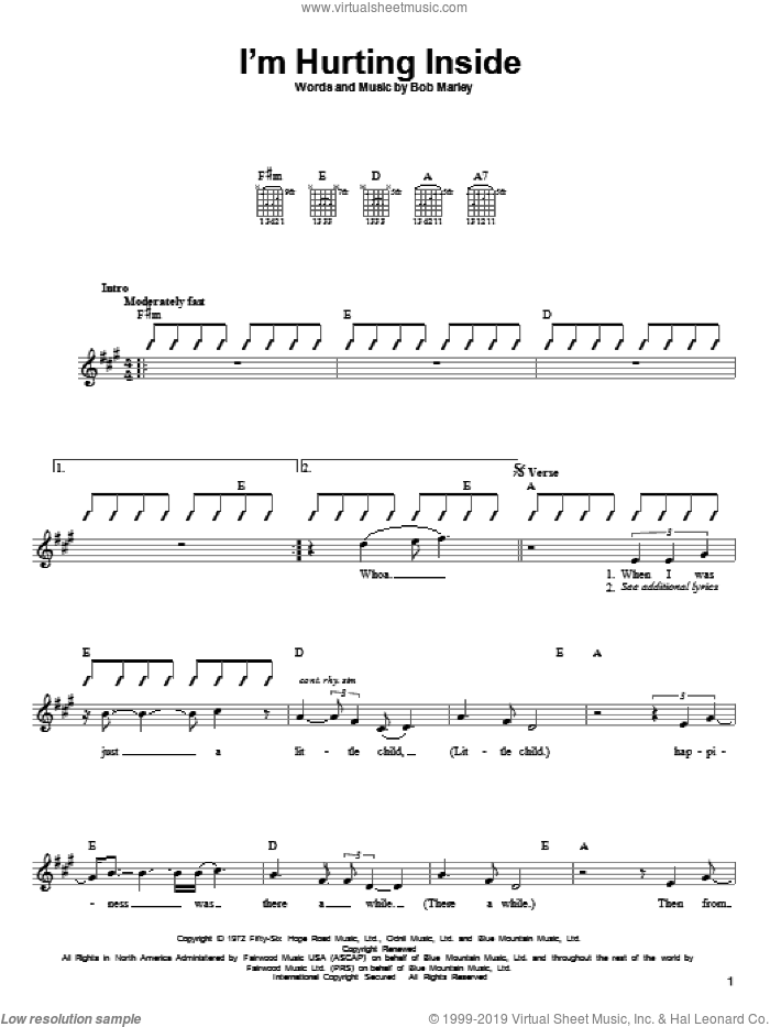 I'm Hurting Inside sheet music for guitar solo (chords) by Bob Marley, easy guitar (chords)
