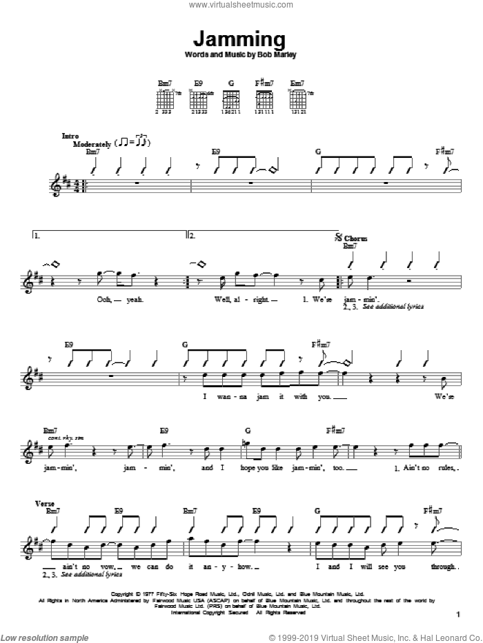 Jamming sheet music for guitar solo (chords) by Bob Marley, easy guitar (chords)