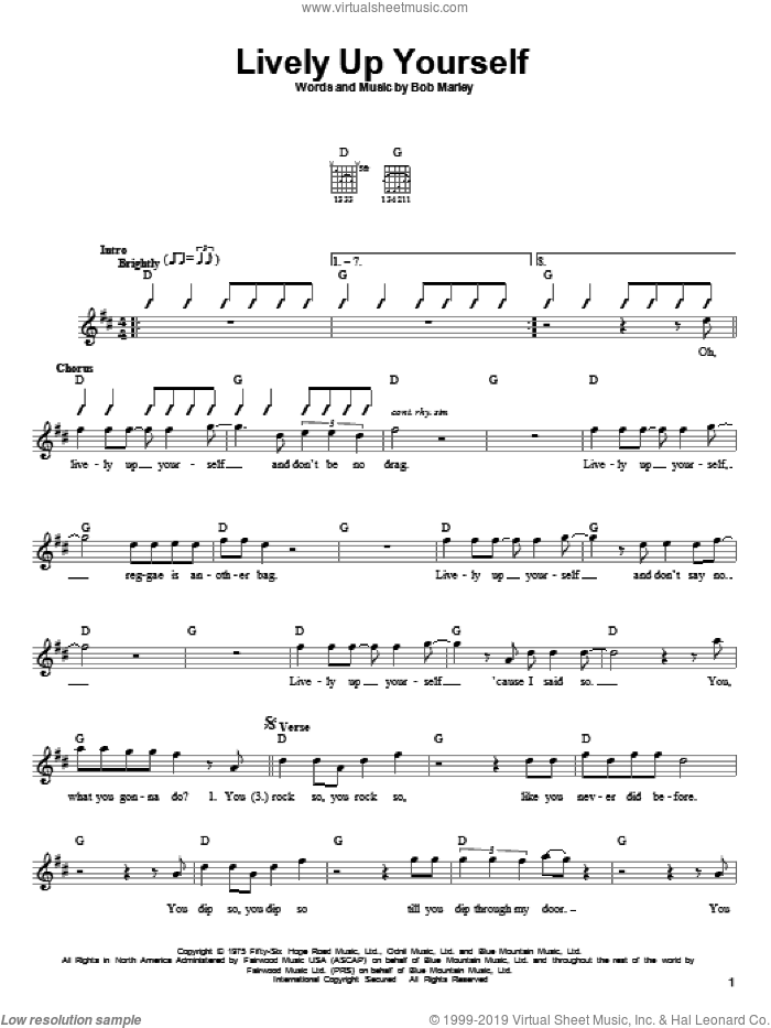 Lively Up Yourself sheet music for guitar solo (chords) by Bob Marley, easy guitar (chords)