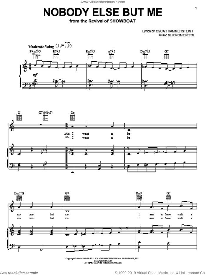 Nobody Else But Me sheet music for voice, piano or guitar by Jerome Kern and Oscar II Hammerstein, intermediate skill level