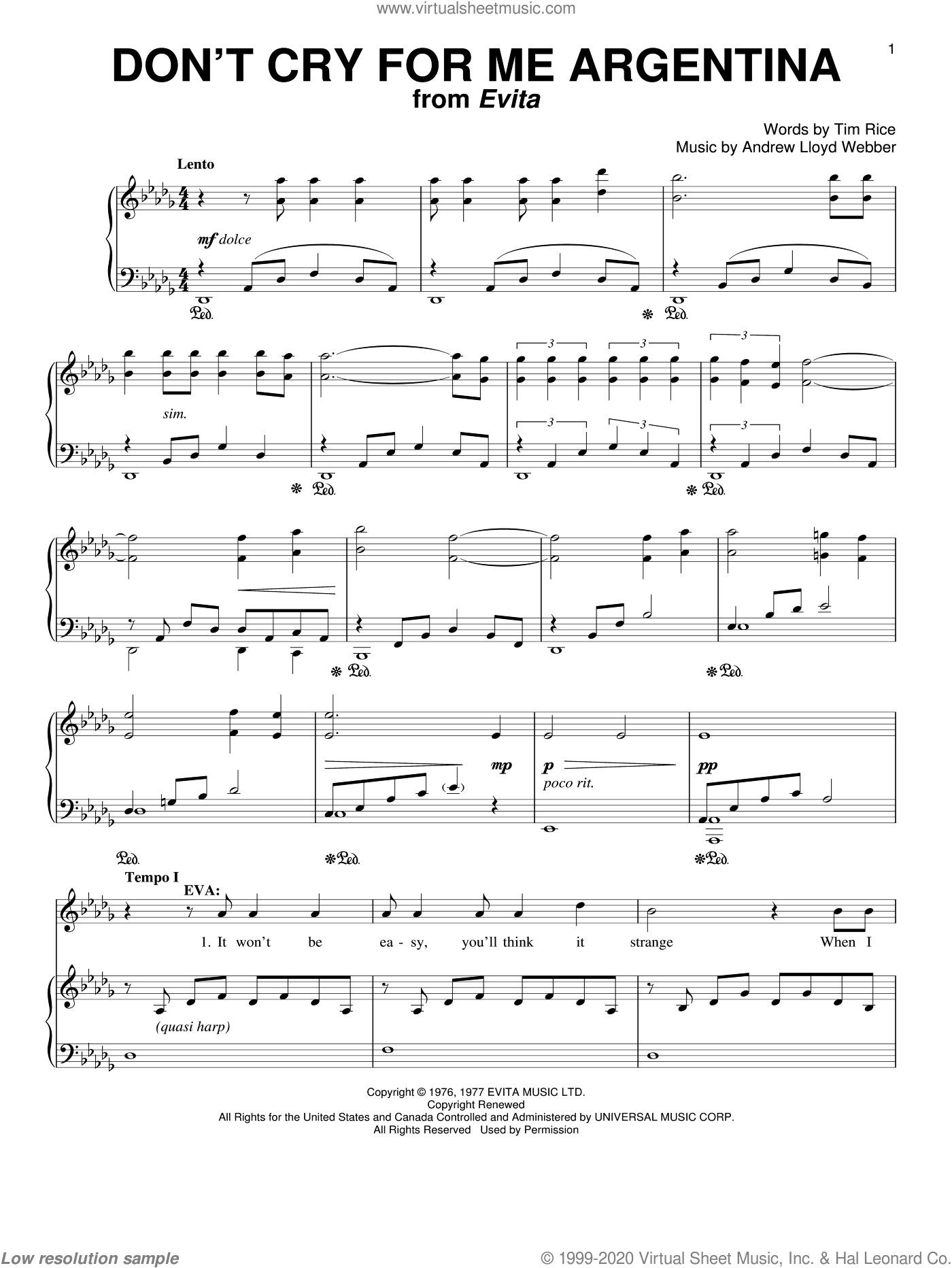 Don't Cry For Me Argentina sheet music for voice and piano by Tim Rice