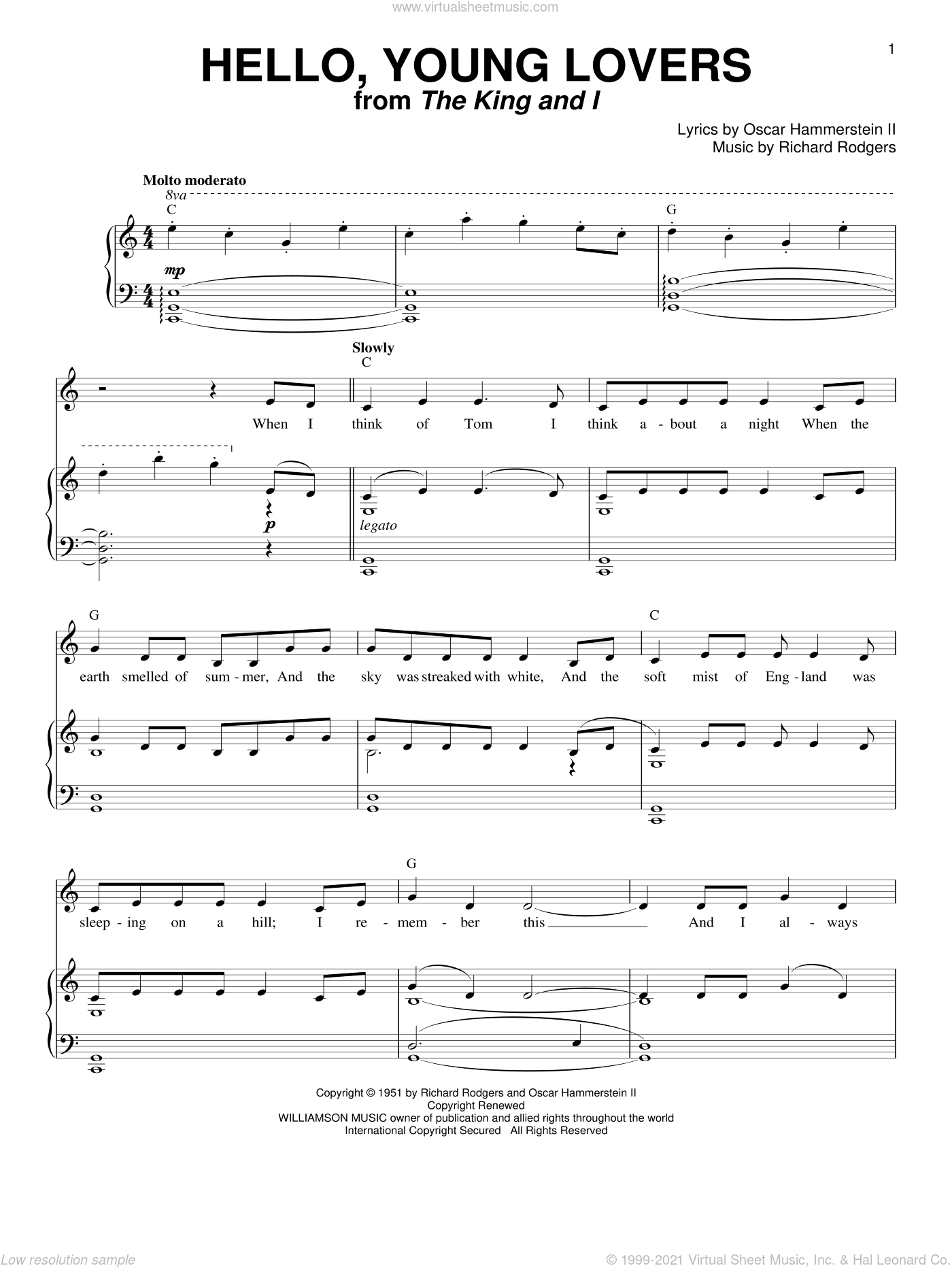 Hello, Young Lovers sheet music for voice and piano by Rodgers & Hammerstein, Oscar II Hammerstein and Richard Rodgers, intermediate voice. Score Image Preview.
