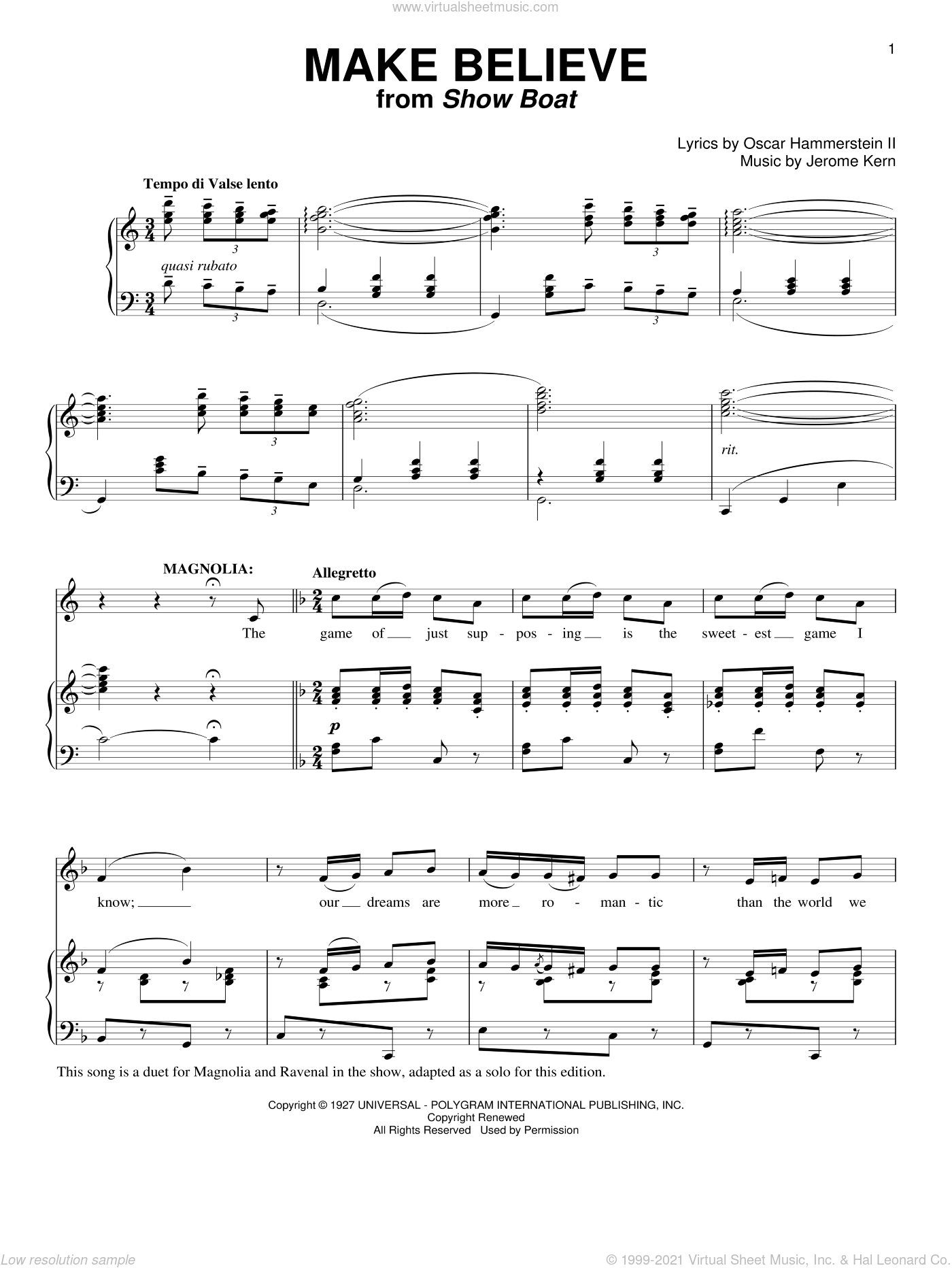 Make Believe sheet music for voice and piano by Oscar II Hammerstein, Benny Goodman, Frank Sinatra and Jerome Kern. Score Image Preview.