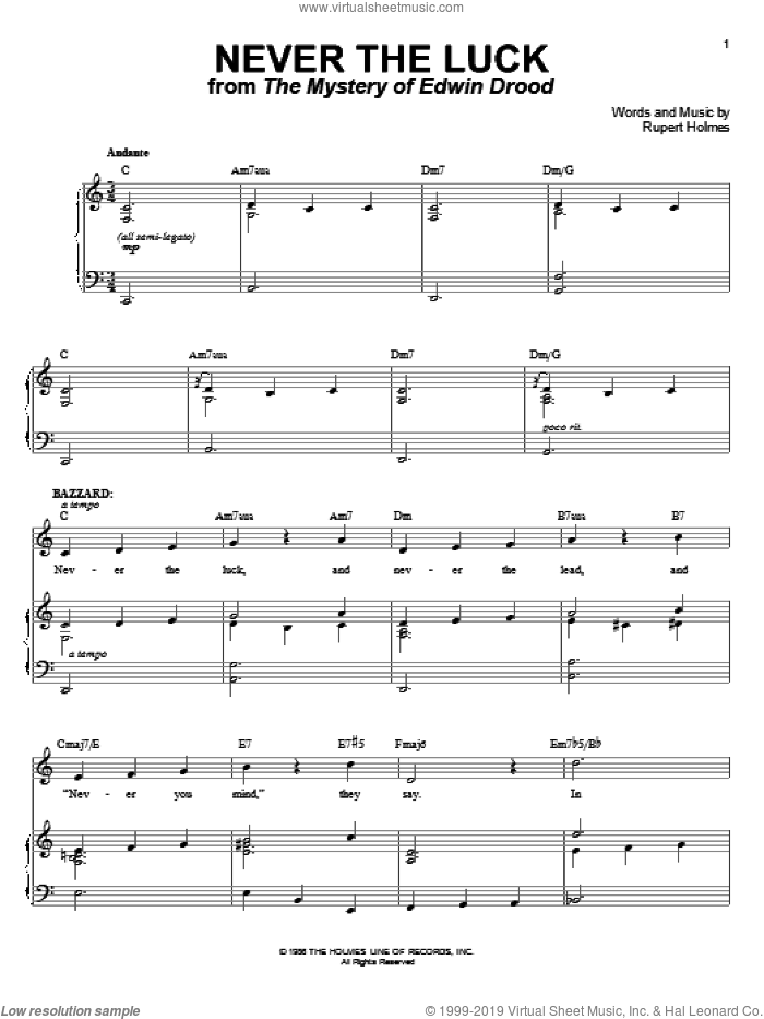 Never The Luck sheet music for voice and piano by Rupert Holmes. Score Image Preview.